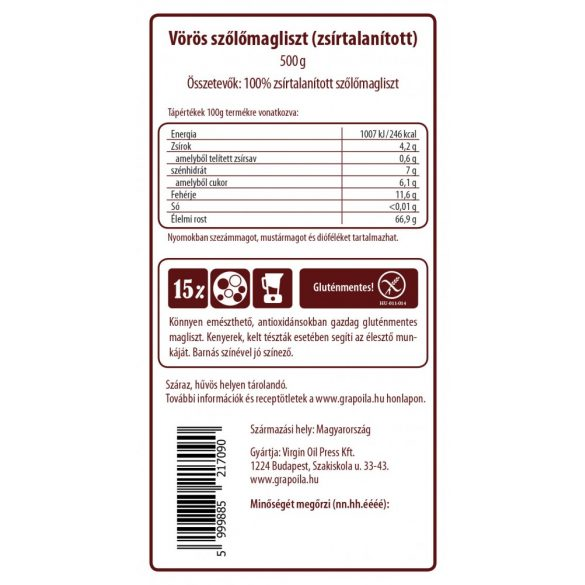 Grape seed flour 500 g