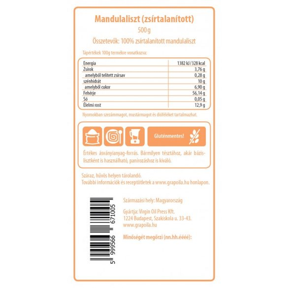 Mandulaliszt - zsírtalanított 500 g