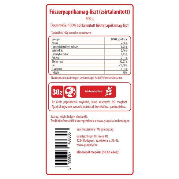 Fűszerpaprikamag-liszt 500 g