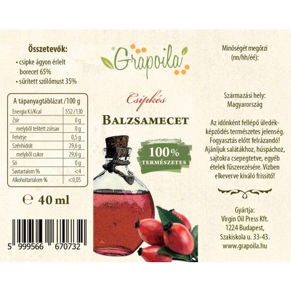 Balsamic vinegar with rosehip 40 ml