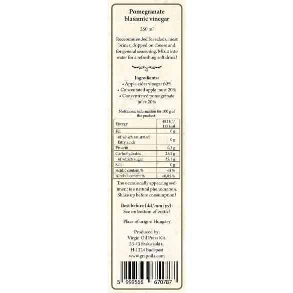 Gránátalmás balzsamecet 250 ml