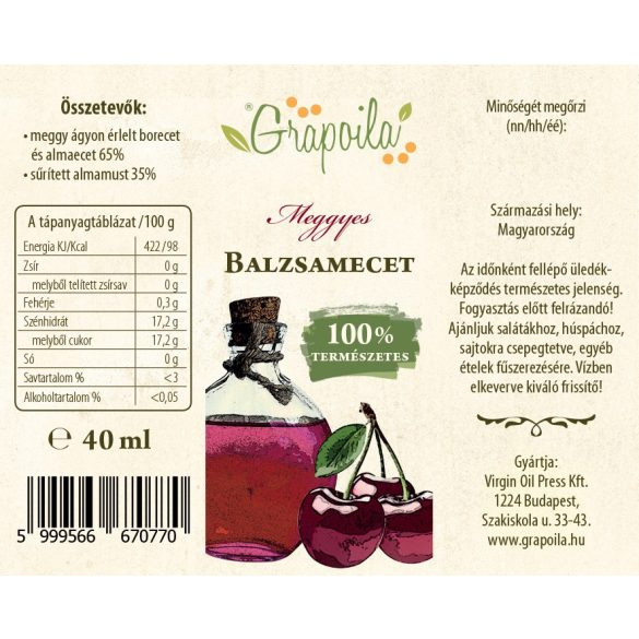 Balsamic vinegar with sour cherry 40 ml